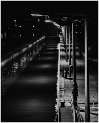 Dark Dock (Thomas Listl) Tags: thomaslistl blackandwhite biancoenegro noiretblanc monochrome night dark river main water lamps lantern lines mood atmosphere würzburg urban dock