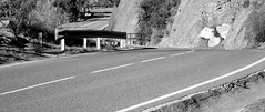Around the corner - A la vuelta de la esquina (AKHBEE) Tags: mountain road curves blackandwhite monochrome lines rocks lineas rocas curvas montaña sombra luz shadow light