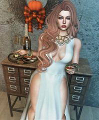 Thanksgiving Fall Party (Sparkle Mocha) Tags: avale dolce cosmopolitan shanghai anita white necklace yummy disco nights set chicchica lavish champagne dispenser pamella hair romp long redhead firestorm secondlife cleavage party longdress formalwear pearls cocktail hour mesh freckles catya catwa