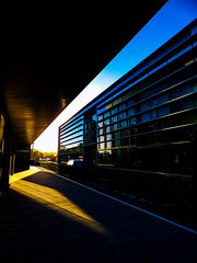 The Low Morning Light (Steve Taylor (Photography)) Tags: architecture building light office black blue brown yellow contrast glass newzealand nz southisland canterbury christchurch city cbd lines perspective shadow spring sunshine sunny sky