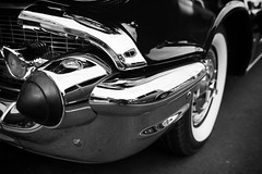 1957 Chevrolet Bel Air: the other bumper (Photos By Clark) Tags: location california elcajon canon2470 canon5div northamerica cities unitedstates locale places where us nik lightroom thesandiegoist 57 chevrolet restored convert bw whitewalls hood bumper classic collectable