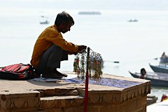 This season, we share dreams (daniel virella) Tags: man sellor bijuterie vendor shore bank ghat ganges ganga गंगा varanasi benares वाराणसी india भारत bharat picmonkey desi uttarpradesh उत्तरप्रदेश
