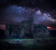 Castle At Night (jarr1520) Tags: sky clouds night sunset stars composite castle grass architecture