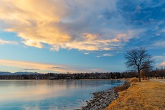 Mountain Sundown (BlinkOfALens) Tags: denver colorado unitedstatesofamerica us sunset park lake clouds reflection
