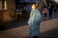 The Winter Sun (Leanne Boulton) Tags: urban street candid portrait streetphotography candidstreetphotography candidportrait streetlife woman female girl face expression mood feeling emotion blue fur furry coat fashion style winter cold sunlight beauty beautiful atmosphere tone texture detail depthoffield bokeh naturallight outdoor light shade shadow city scene human life living humanity society culture lifestyle people canon canon5dmkiii color colour glasgow scotland uk