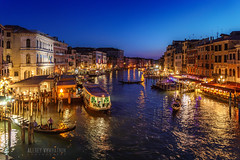 View from the Bridge (alvytsk) Tags: italy italian urban street canal venice venezia veneto boats lights evening sunset bluehour