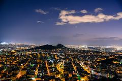 Night falls in Athens (athanecon) Tags: athens greece night city lights citylights sky clouds sea attica atticaregion lycabettus hill acropolis parthenon piraeus suburbs downtown athenscentre