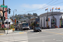 San Francisco (Jan Dreesen) Tags: sf san francisco california californië usa united states vs verenigde staten amerika america openbaar vervoer transport public transit municipal railway muni trolleybus castro lgbtq rainbow flag