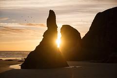 Face Rock, Bandon, Oregon (dirtjoy) Tags: sunset beach oregoncoast boulder rocks peaceful tranquil nature background