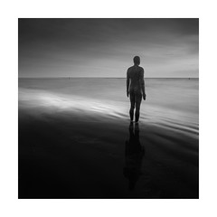 The Lookout (Nick green2012) Tags: blackandwhite longexposure square silence statues seascape gormley