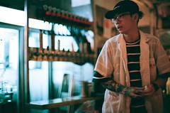 what you do for a living (i'm swy) Tags: craftbeer bar night hongkong analogue agfa400 nikon nikonfm2 50mm f12