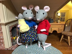 5. Mouse family for my son (Foxy Belle) Tags: mouse mice poseable handmade doll 112 scale pipestem cleaners chenille stem sweater recycle sew make diy dollhouse house room diorama wood fireplace working rug brick
