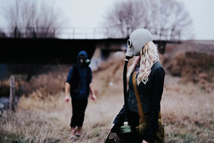 Cursed Be the Ground (tryniti almquist) Tags: girl apocalypse end times gas mask gasmask siblings brother lets play pretend conceptual forest train tracks woods dslr depth field model lady hair world imaginary imagination unreal photoshop lightroom magical magic crimped minnesota photography photographer photoshoot