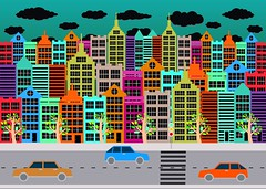 Colorful Cityscape  Town city building design (www.icon0.com) Tags: street flat town view buildings road cars travel life suburban man skyscraper handdrawn blocks truck lorry day concept urban symbol walking orange graphic old trafficjam people simple modern family illustration transport metropolis retro architecture city colorful sky house trafficlight scene environment crossroad exterior happy landscape cityscape