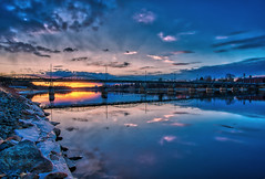 Umeå 20160412 (johan.bergenstrahle) Tags: 2016 april älv aurorahdr bridge bro captureone evening finepicsse hdr kväll reflection river solnedgång spring stadsbild sunset sverige sweden town umeälv umeriver umeå vår city
