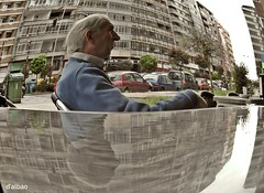 In a round world (Franco D´Albao) Tags: samsungwb700 francodalbao dalbao fisheye ojodepez callle street hombre man edificios buildings ciudad city reflejo reflection
