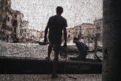 Rialto fish market. (markfly1) Tags: rialto fish market venice italy men fishing boats candid scene abstract image cityscape water waterfront buildings rope ochre colour streetphoto semi silhouette nikon d750 35mm manual focus lens