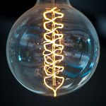 Double helix shaped filaments in a light bulb thumbnail