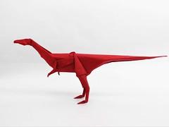 Coelophysis (Rohit KO) Tags: origami double tissue paper papercraft red coelophysis dinosaur satoshi kamiya rohit ko