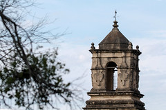 San Jose steeple - HBW! (RPahre) Tags: bokeh hbw tree steeple texas elcaminorealdelostejas elcaminoreal mission church missionsanjoséysanmigueldeaguayo missionsanjosé misiónsanjosé sanjosé