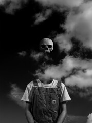 ... (Marco Perico .) Tags: art artistic portrait skull man person nikon bw black white italy sky clouds salopette fashion shirt surreal dream surrealism surrealart fineart fine cloud