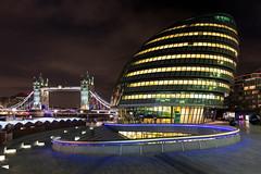 The Old and the New, London, England (Aethelweard) Tags: london england unitedkingdom gb bridge modern sky river southbank cityhall nightshot longexposure efs1018mmf4556isstm