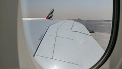 Emirates Airbus A380-800 Massive Wing View (Edward van Vliet) Tags: emirates airlines airbus a380800 massive wing view heavy super heat hot flaps big ailerons elevators slats flight controls rudder primary secondary speed brakes tail winglets wings fly flying skies sky blue clear dxb dubai international airport uae taxi clearance gate parked parking stand