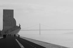 Padrão dos Descobrimentos (Douguerreotype) Tags: people lisbon bridge monochrome blackandwhite river lisboa street monument mono architecture city portugal urban bw