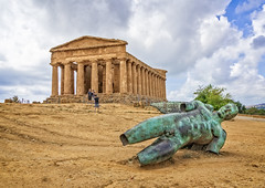 Icarus fell near the Temple of Concordia (Tigra K) Tags: agrigento provinceofagrigento italy it 2018 antiquity architecture column contemporary face metal museum nude repetition ruin sculpture sicily statue temple pattern art