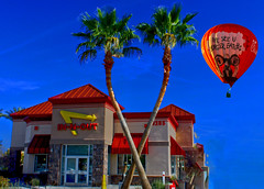 War of the Whirls (oybay©) Tags: innout inandout inout in out innoutburger chikfila chick chik chic fila fil a filet sign billboard oybay bellroad peoria glendale 83rdavenue color colors building architecture balloon hotairballoon colorful bright vivid advertising palmtrees love america legendary