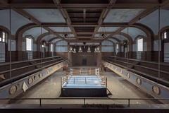 ...second rule of fight club... (Art in Entropy) Tags: abandoned arena boxing ring stage horizon ropes urban decay explore exploration grime creepy lights knockout gloves sports adventure photography art