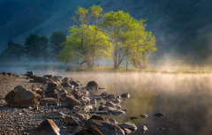 Sunrise and Shine (Pete Rowbottom, Wigan, UK) Tags: lakedistrict landscape dawn sunrise light sunlight water mist steam fog mountains illuminated firstlight cumbria brotherswater peterowbottom nikond750 lake outdoor photography sidelight shore uk england copse sunlit dramatic contrast beauty nature trees
