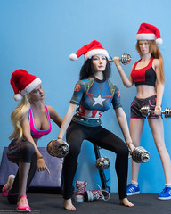 2018 Phicen/TBLeague Advent Calendar - Day 14 Outtakes (edwicks_toybox) Tags: 16scale captainamerica firegirl tbleague bbi blueboxtoys dumbbell femaleactionfigure fitness phicen santahat seamlessbody sneakers workout zytoys