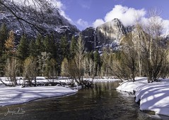 Yosemite Falls in Winter (jen_moss) Tags: yosemite yosemitefalls yosemitevalley california tuolumne tuolumnecounty snow waterfall mountain