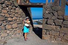 Shooting (piotr_szymanek) Tags: marzka woman milf portrait outdoor face eyesoncamera glasses sunglasses hat wall blue sky shorts fuerteventura elcotillo sea ocean water port 1k 5k 20f 10k 20k