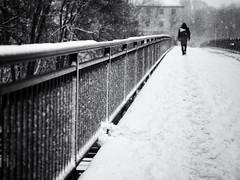 walking in the snow (Sandy...J) Tags: street streetphotography sw schwarzweis strasenfotografie snow snowfall schneefall walking white winter olympus urban noir city blackwhite bw monochrom man