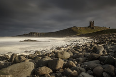 Wipe Out (andyrousephotography) Tags: dunstanburghcastle northumberland nationaltrust caster longwalk ruins £6 free cheated castle history startedoutasaniceday blueskies clouds embletonbay beach pebbles boulders surf form spray waves windy stormy whiteout longexposure fatchance thefog packupandgohome