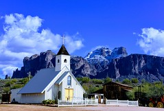Superstition-EFFECTSChurch (ONE/MILLION) Tags: vacation travel tours visit outdoors superstition mountains church blue sky snow clouds golf course canyon lake cactus williestark onemillion saguaro rocks mailbox colorful weather lost dutchman gold mine history