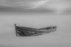 The Boat (Klaus Ficker (Thanks for 5,000,000 views)) Tags: boat fog longexposure water ocean sea kentuckyphotography klausficker canon eos5dmarkiv photoshop on1 bw absoluteblackandwhite