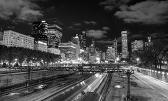 Artery (Austin Westervelt) Tags: chicago night lights city urban buildings exposure shutter train motion movement bw blackwhite blackandwhite monochrome cityscape