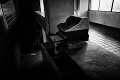 Prosperity in the old days (y uzen (犬も歩けば…)) Tags: cashregister coffeeshop stand sink tile shadow monochrome bw japaninbw