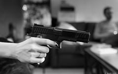 Manon (BenoitGEETS-Photography) Tags: manon d610 2470 f28 mons tamron bn bw noiretblanc nb nikonpassion weapon arme pistolet hand main p355