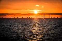 Sunset (Maria Eklind) Tags: building sunset water sweden ön colorful öresund malmö pink bridge stilllife sky bro solnedgång solljus himmel öresundsbron skånelän sverige se