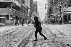 West 49th Street (erichudson78) Tags: usa nyc newyorkcity west49thstreet manhattan midtown streetphotography scènederue snow neige canonef24105mmf4lisusm canoneos6d noiretblanc blackandwhite nb bw paysageurbain urbanlandscape rue street ville town personne people candid eyecontact