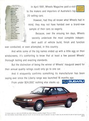 1992 BC Subaru Liberty Sedan Page 2 Aussie Original Magazine Advertisement (Darren Marlow) Tags: 2 9 1 19 92 1992 b c bc s subaru l liberty sedan car cool collectors classic a automobile v vehicle j jap japan japanese asian asia 90s