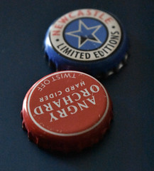 Red, White, & Blue (Veee Man) Tags: gimp nikond5000 loslunas meadowlake newmexico beer bottlecaps red white blue black circle star angryorchardhardcider newcastlelimitededitions 9 nine two 2