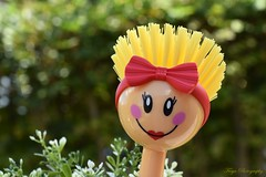 BRUSH... Up Hairstyle... (Maria Godfrida) Tags: smileonsaturday brush hairstyle happy funny smile bokeh kitchentool dishbrush bow closeup cute