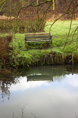 Thinking Spot (AlexSalvetore) Tags: bench river water reflection reflections grass bank riverbank wood woods wooden seat sit thought thoughtful place england uk