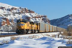 Auto Train at Echo (jamesbelmont) Tags: unionpacific automobiles railway emd sd70m echo utah evanstonsubdivision