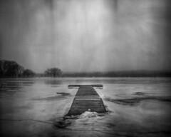 Icebreaker (Phil Roeder) Tags: desmoines iowa grayslake dock lake pond frozen ice winter cold gray grey blackandwhite monochrome film ilfordfp4plus 4x5 largeformat intrepidcameraco schneiderkreuznachsuperangulon1890